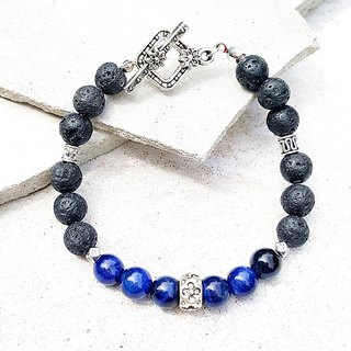 <Courage Light Wheel - Clear Sky>Blue Tiger Eye x Volcanic Rock Bracelet Customized Gift Anniversary