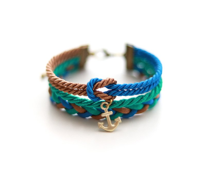 Nautical wrap bracelet in with anchor in vivid blue / chocolate / sea green