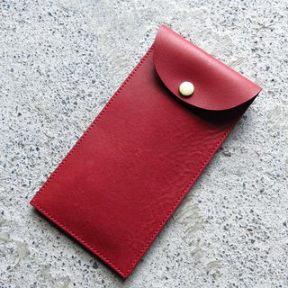 Vegetable tanned leather red bag leather case, mobile phone case, storage bag [LBT Pro]