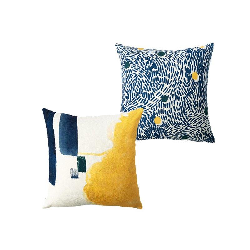 草稿CIAOGAO 原創設計雙面抱枕套-水墨筆觸藍色 客廳臥室沙發