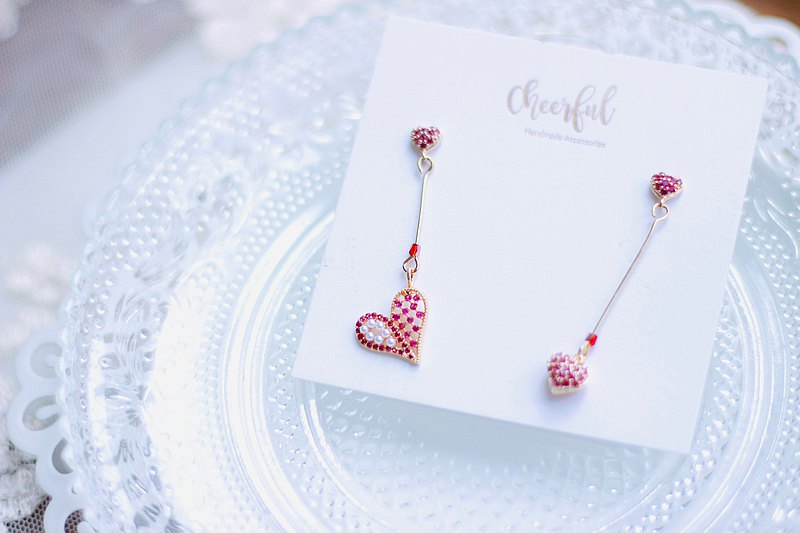 CHEERFUL HANDMADE 925 Silver Heart-shaped zircon earrings - Pink