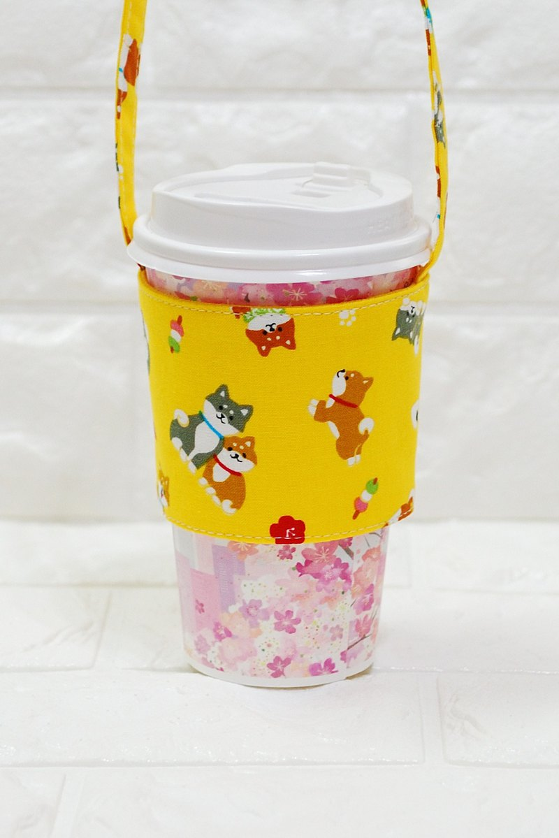 Play cloth hand made. Shiba family (yellow) green drink bag cup set