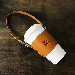 Italian vegetable tanned leather hand-sewed drink strap/cup set