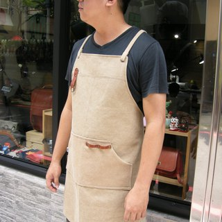 Block leather apron (thick pound canvas khaki) __made as zuo zuo hand apron
