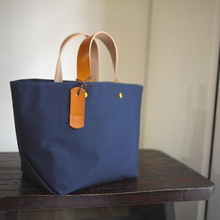 Leather Handle Bag (Small) - Navy Blue