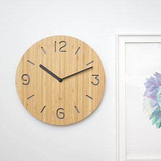 LOO Wall Clock. Round Numbers Gray
