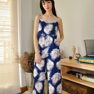 DARK BLUE PALM FLORAL PRINT JUMPSUIT WITH SPAGHETTI STRAP AND BACK ZIPPER