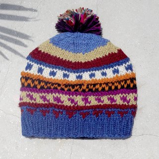 Christmas gift limited to a hand-woven pure wool hat / knitted hair hat / bristles wool handmade hair hat / wool cap (made in nepal) - contrast color South America mixed color gradient grape national stripes
