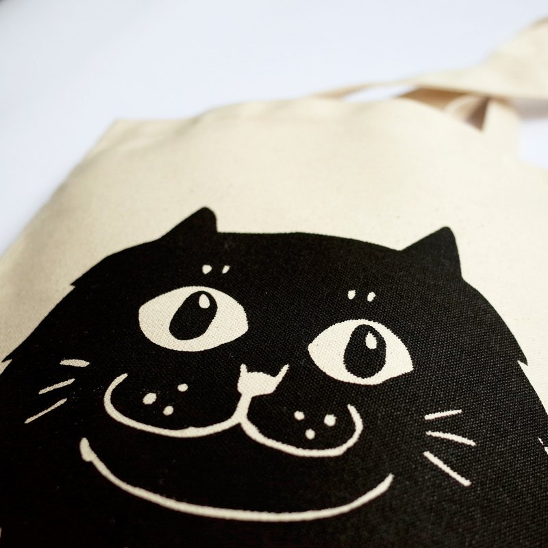 Big cat side bag / bag / black smile Persian cat / thick section / beige + black