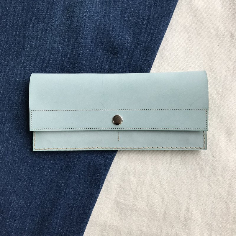 Leather long clip _4 card layer_1 banknote layer _ change bag _ waxy mint green