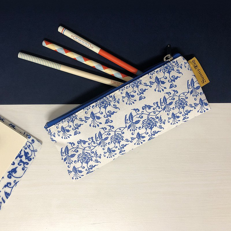 Sunny Bag-pen bag-blue and white lotus pattern