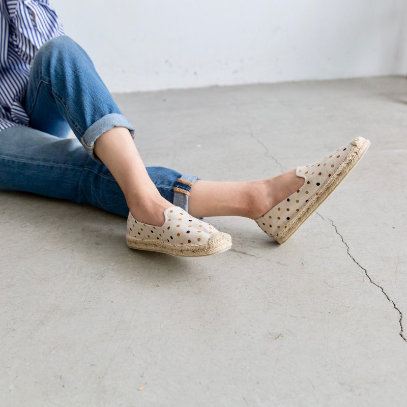 Japanese cloth handmade straw shoes - coffee dots