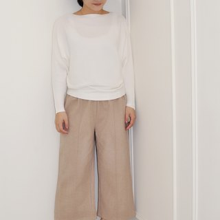 Flat 135 X Taiwan designer series black apricot wool waist elastic nine points straight pants