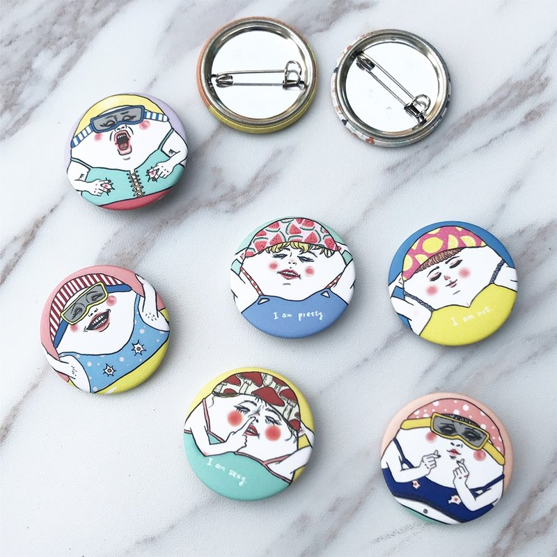Eggheads pool party / pin back buttons (8 styles)
