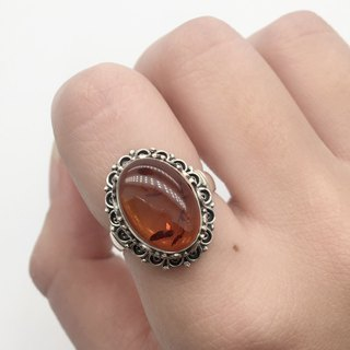 Amber 925 sterling silver elegant lace ring handmade mosaic in Nepal