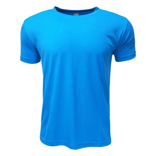 3D straight striped moisture wicking round neck T :: Blue:: men and women can wear