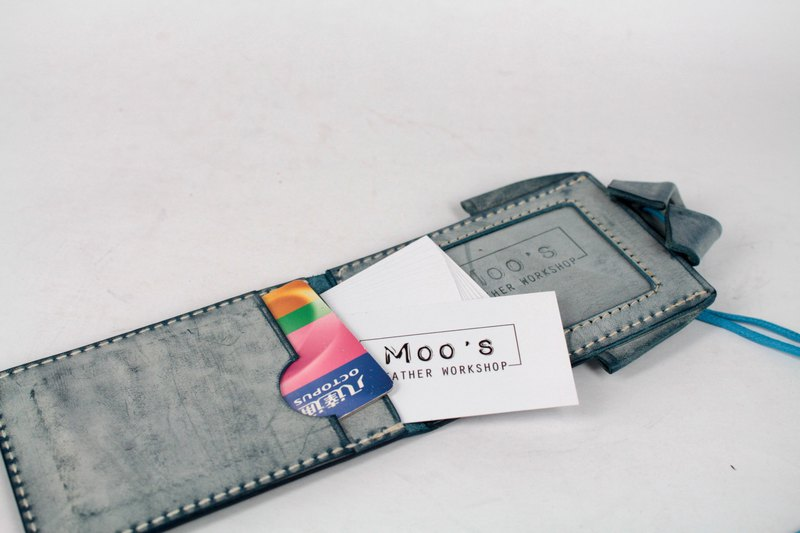 MOOS X WASOME ORIGAMI 鞣 鞣 鞣 leather full hand sewing certificate set (blue)