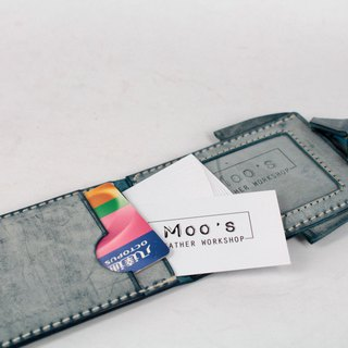 MOOS X WASOME ORIGAMI Fully Hand-sewn ID Card Holder (Blue)