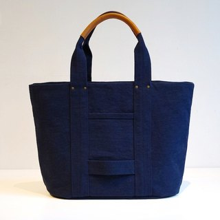 Kurashiki canvas tote bag - Midnight blue