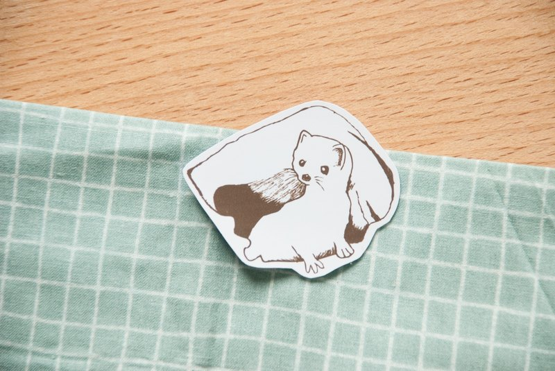 [Animal series # 7 monochrome white mink ferrets coloring sticker pack 5