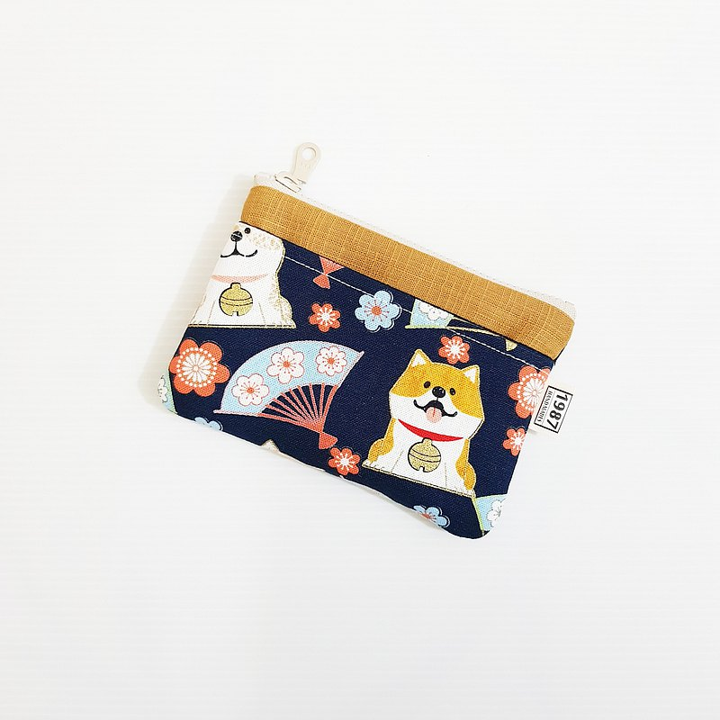 【柴柴過新年(深藍)-棕】 犬系!!! 零錢包 手拿包 隨身包 拉鏈袋 聖誕禮物