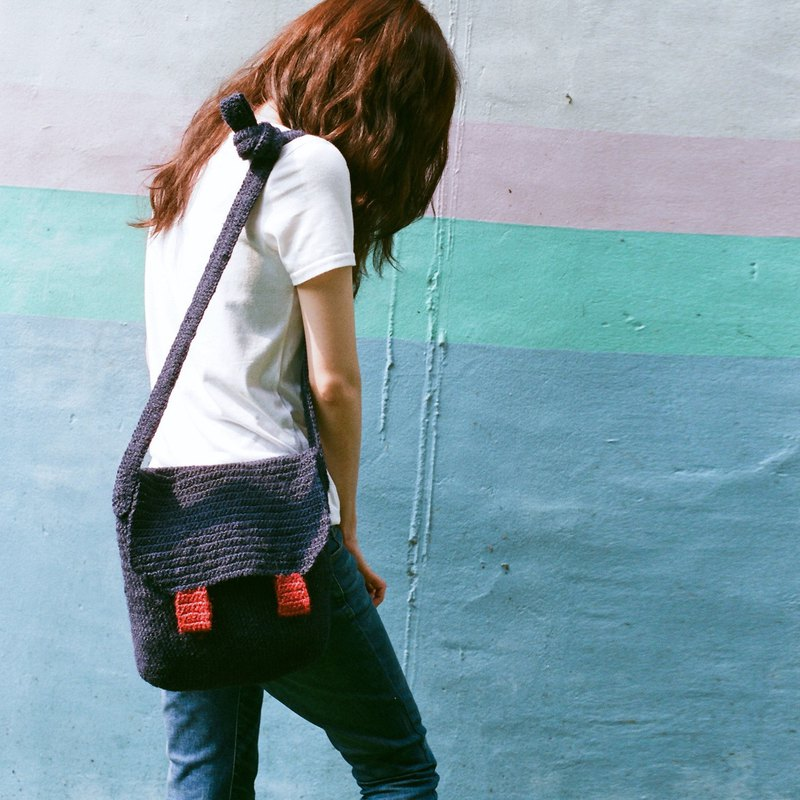 Blue bag / two-color hemp rope /