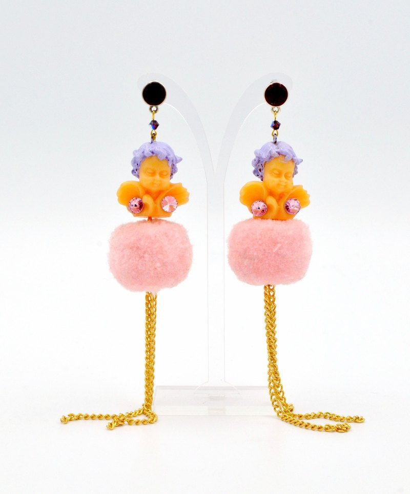 TIMBEE LO Purple Hair Ball Gold Flow Beard Earrings