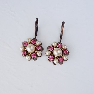 Pink Rhinestone Dangle Earrings with Pearls - Jewelry by mdmButiik