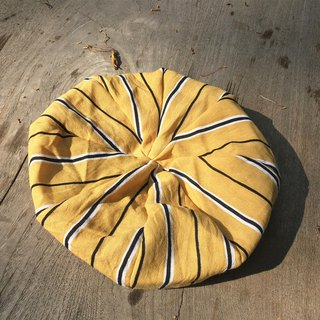 Yellow striped hand made beret