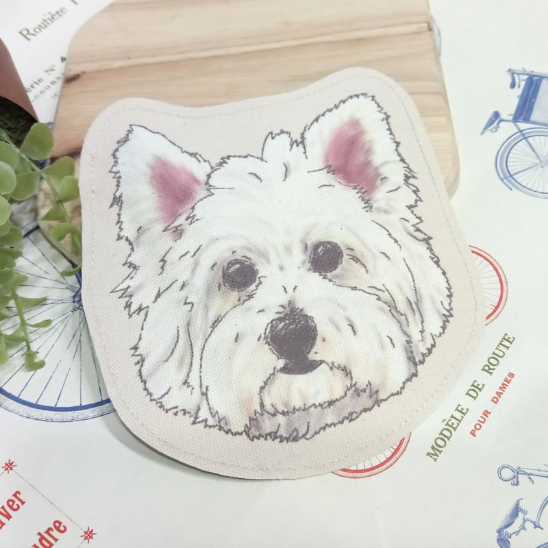 West Highland White Terrier - Coarse Cloth Coin Purse (can be used as a MRT card set) - Dog Sketch Series ~ Dog Head Modeling