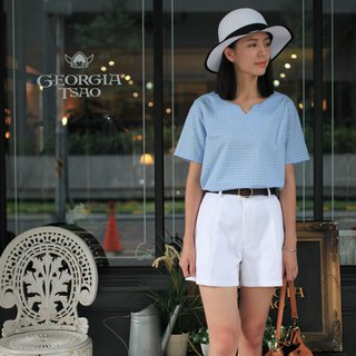 GT blue and white small grid small V top