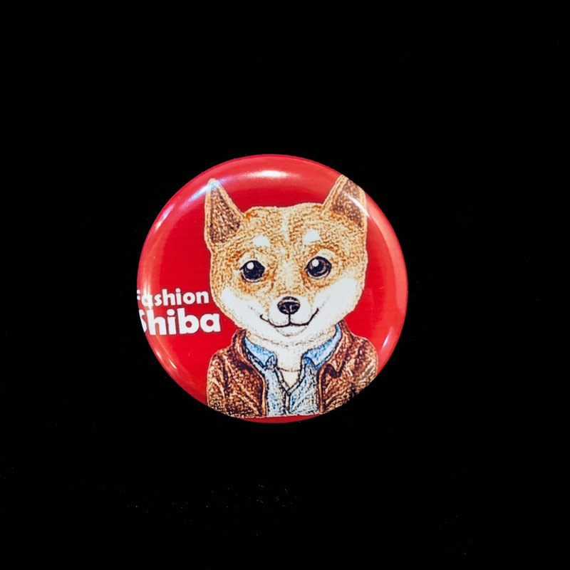 Hand-painted illustration small badge pin badge | fashion cats and dogs ~ Shiba Inu