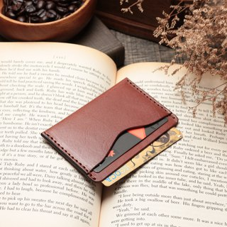Retro coffee red hand dyed yak leather manual ticket holder