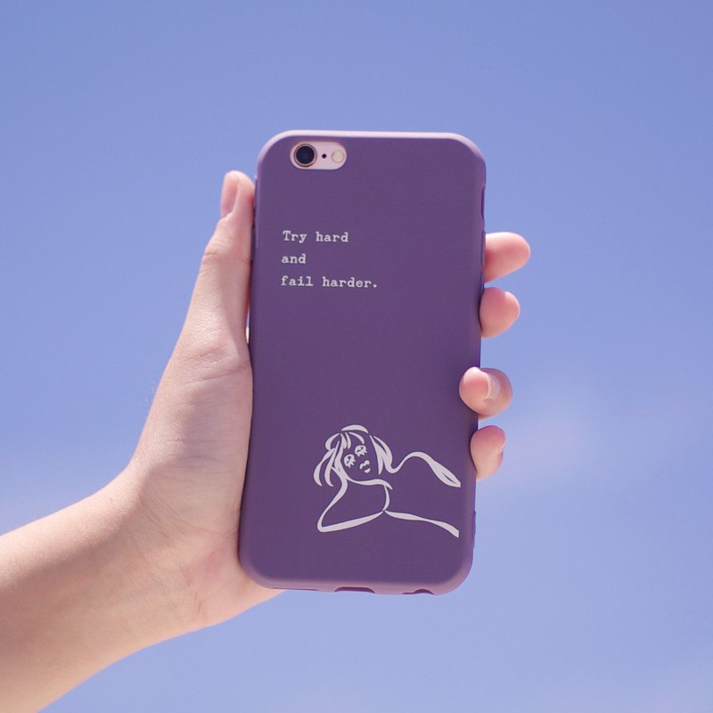 The harder you work, the more you fail-iPhone case / purple all-inclusive matte soft case