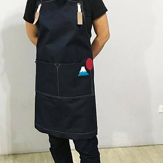 Wool felt patch apron dark blue medium thick canvas as Zuo zuo hand made apron Mount Fuji