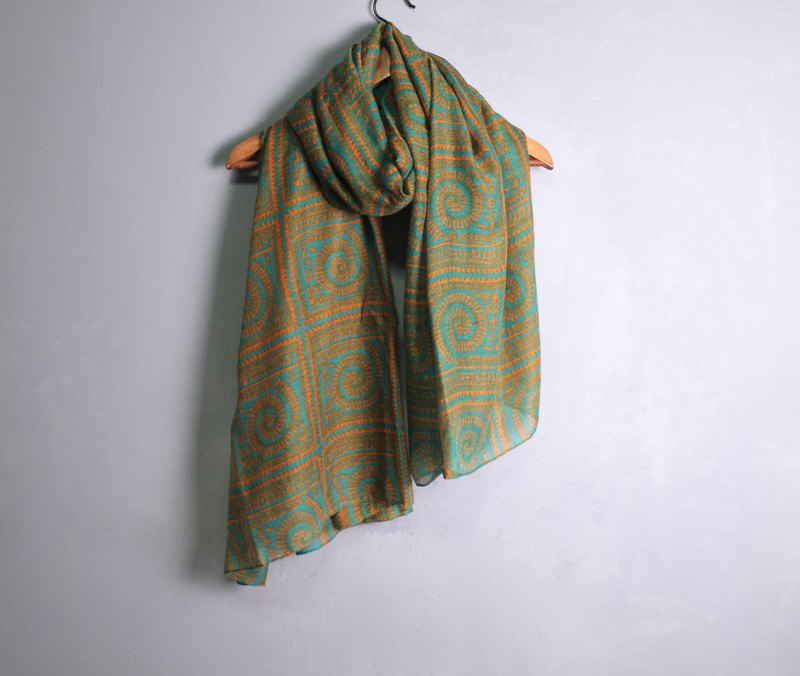 FOAK vintage orange and white totem scarf