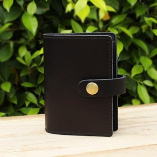 Card Holder - Black (Genuine Cow Leather) / Card Case / Business Card Holder