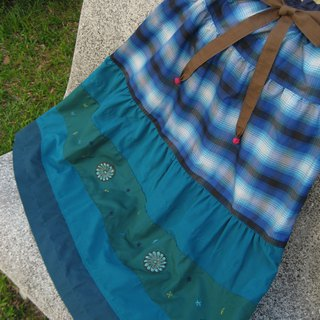 Tiered Skirt Ethnic Blue Indian and Indonesian Fabric
