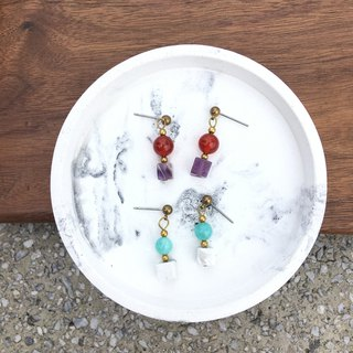 Natural stone hand made earrings - Tianhe stone white stone / amethyst red horse brain ear hook l ear pin l ear clip