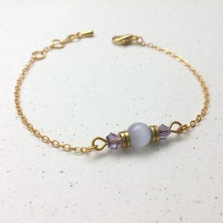 ♥ HY ♥ x bracelet hand-made opal glass crystal thin brass chain bracelet purple
