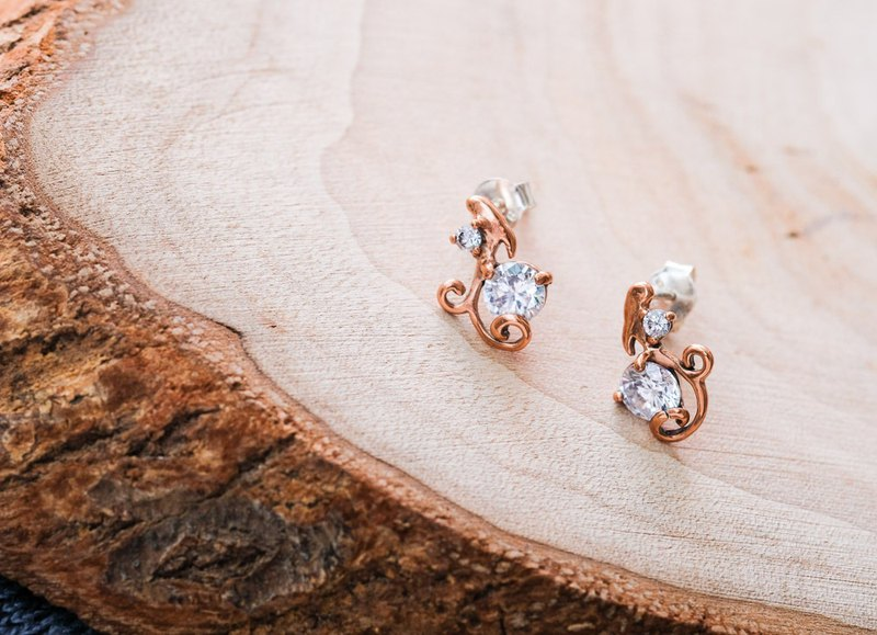 Minimalist Vine Diamond Earrings - Rose Gold 925 Sterling Silver
