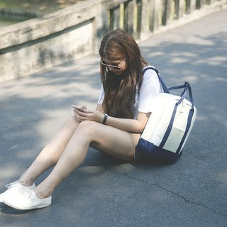 BACKPACK Beige / Navy