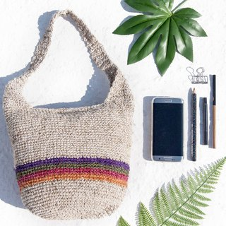 Natural cotton and linen crocheted light bag / cross-body bag / side backpack / shoulder bag / travel bag / cylinder bag - dessert