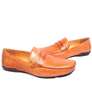 Temple filial good classic leather driving Lok Fu shoes brown