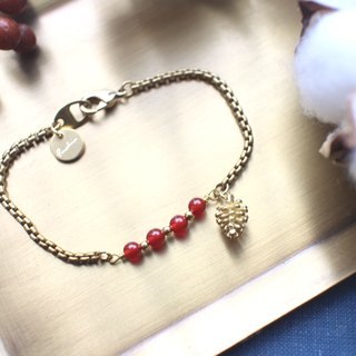Christmas pinecone-Red agate brass bracelet