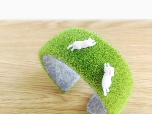 grass bracelet cuff Kawaii lawn bangle,Green bracelet, Gift for women, pretty bangle, cute bangle, bunny rabbit animal miniature,non metal
