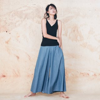 Handmade cotton and linen wide trousers skirt - tannin