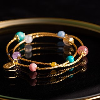 <Slow Temperature Natural Stone Series>C1199 Brass Double Circle Design Bracelet - Fairytale Planet