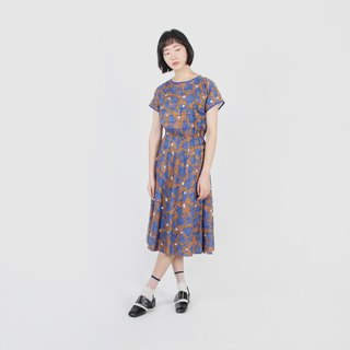 [Egg Plant Vintage] Geometric Tulip Printed Cotton Vintage Dress
