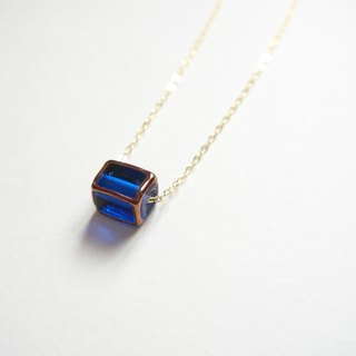 Mother's Day gift, simple and elegant, noble, imported Czech glass beads, navy blue, gold-plated necklace (40cm / 16 inches)